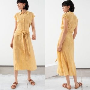 & other stories yellow knots tie front maxi dress